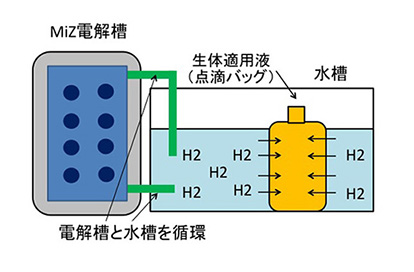 Non-destructive hydrogen adding apparatus (administration of molecular hydrogen by intravenous drip or intravenous infusion)